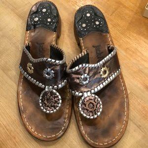 JACK ROGERS PEWTER MULTICOLORED Sandals sz 8.5 N